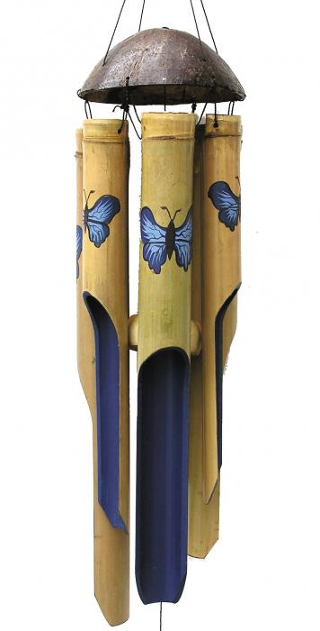 Cohasset Imports Small Blue Butterfly Wind Chime