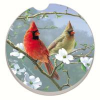 Counter Art Beautiful Songbirds Cardinals Car Coaster
