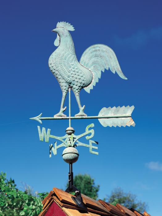 Copper Rooster Weathervane - Verdigris