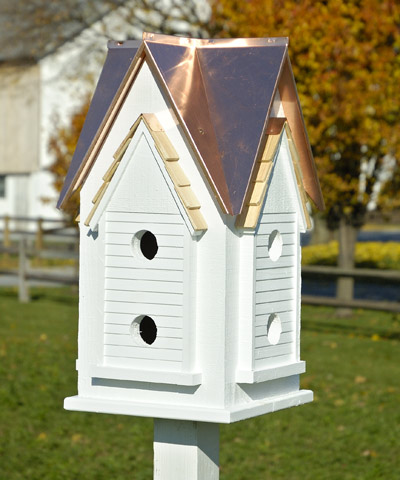 Heartwood Victorian Mansion Birdhouse Bright Copper Roof