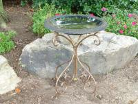 TDI Brands Green Fiber Clay Birdbath with Metal Base