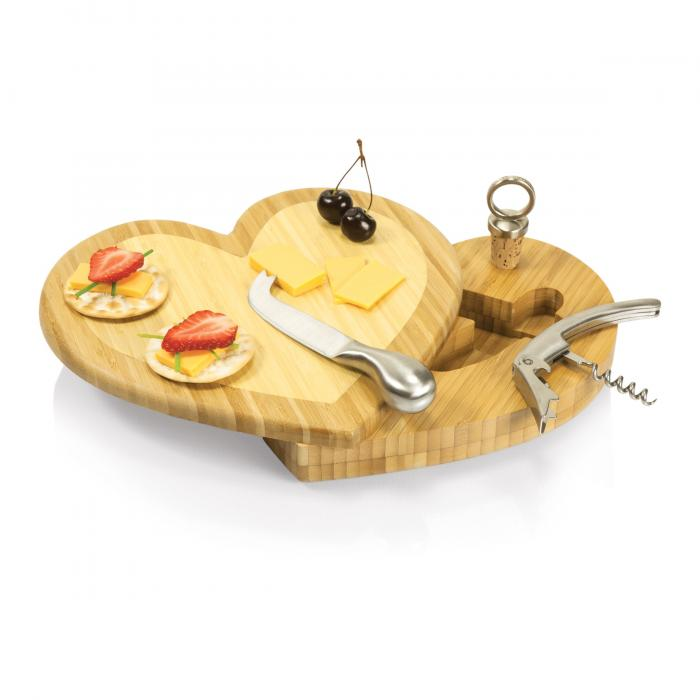 Picnic Time Heart Cutting Board w/ wine and Cheese Tools