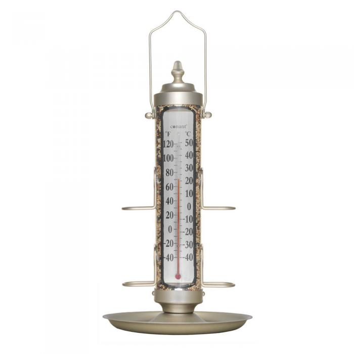 "Conant Custom Brass 12"" Tube Bird Feeder w/ Tray & Thermometer, Satin Nickel"