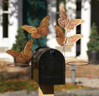 Ancient Graffiti Butterfly Mailbox Pot Holder Flamed Copper