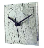 Square White Glass Wall Clock with Cracked Glass Design