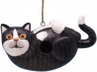 Songbird Essentials Black & White Cat on Back Birdhouse