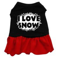I Love Snow Dog Dress - Black with Red/Large