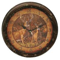 Buck and Doe Metal Clock 15""