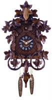 One Day Hand-carved Cuckoo Clock with Intricate Leaves & Vines - 14 Inches Tall