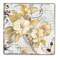 Counter Art White Floral Single Tumbled Tile Coaster