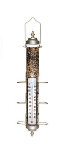 Conant Custom Brass Grande View 1.75 lb Capacity Tube Bird Feeder w/ Thermometer, Satin Nickel