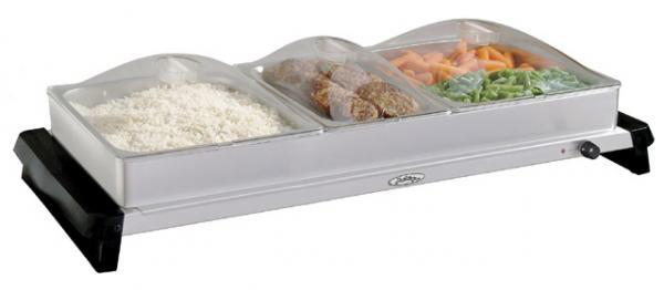 BroilKing Professional Triple Buffet Server, Stainless Base,Plastic Lids