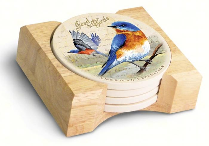 American Expeditions Bluebird Postcard Coasters (set of 4)