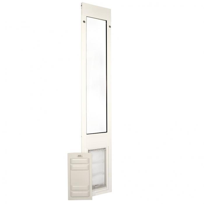"Endura Flap Pet Door, Thermo Panel 3e, Medium Flap, 8""w x 15""h - 77.25-80.25"" Tall, White Frame"