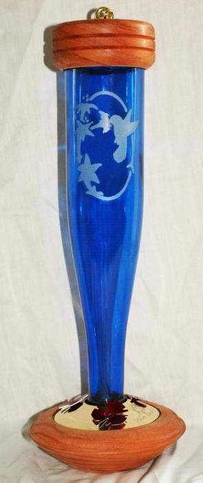 Schrodt Cobalt Blue Etched Lantern Hummingbird Bird Feeder