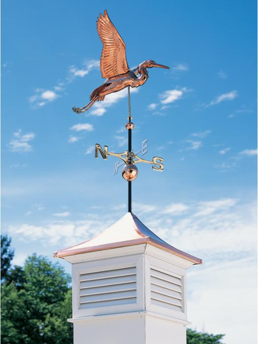 Copper Heron Weathervane - Polished