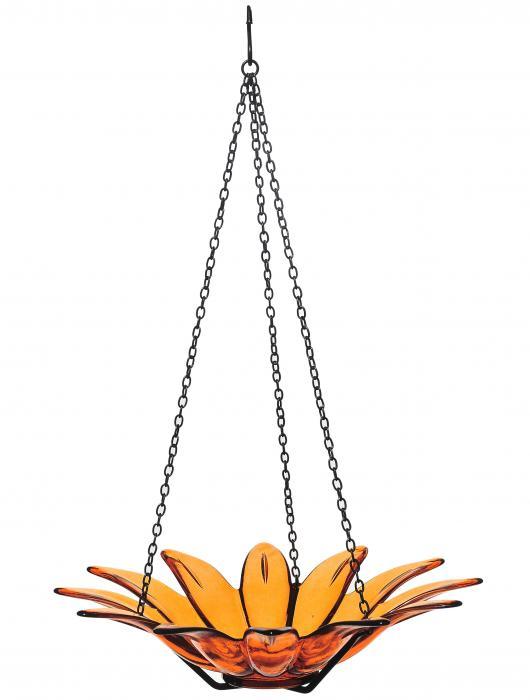 Couronne Company 12 inch Daisy Birdbath Orange