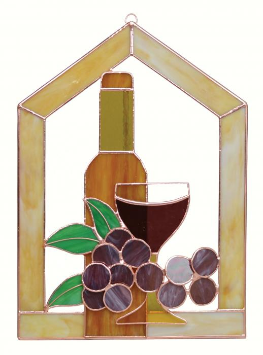 Gift Essentials Large Wine Bottle Glass Grapes Scene Steeple Window Panel