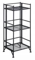 XTRA-Storage 3 Tier Black Folding Metal Shelf