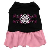 Pink Snowflake Dog Dress - Black with Pink/XX Large