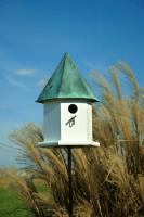 Heartwood Copper Songbird Deluxe Birdhouse, White with Verdigris Roof