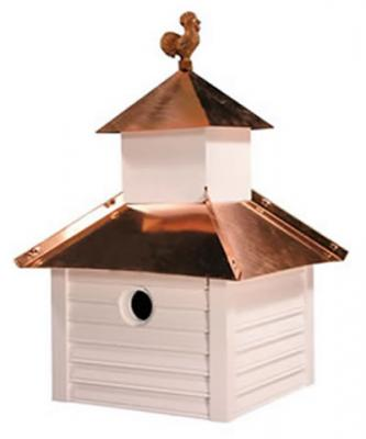 Heartwood Rusty Rooster Birdhouse, White with Bright Copper Roof