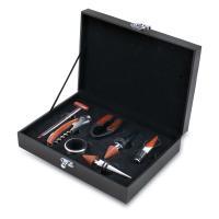 Picnic Time Grenache Black Seven-Piece Box Set of Wine Accessories