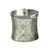 Nu Steel Mercury Glass Cotton Swab/Cotton Container