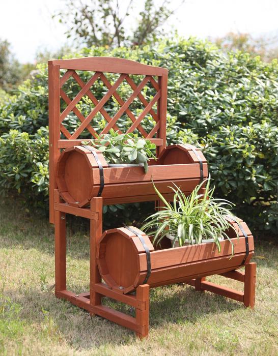 Convenience Concepts  Double Barrel Planter (Red Cedar)
