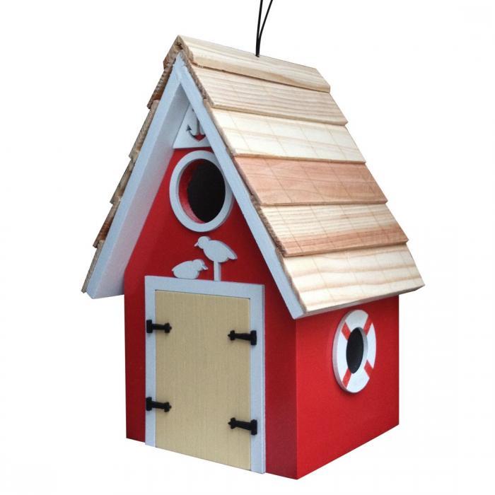 Home Bazaar Dockside Cabin Birdhouse - Red
