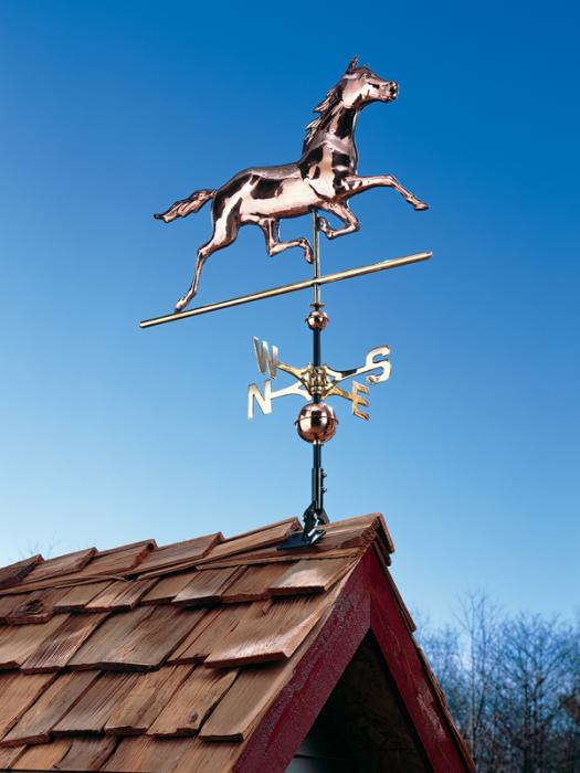 Copper Horse Weathervane - Polished