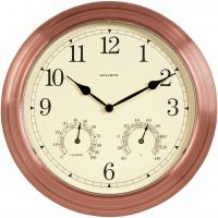 AcuRite 13 inch Copper Indoor Outdoor Clock with Thermometer and Humidity