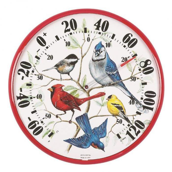AcuRite Designer Edition 12 1/2 inch In/Outdoor Songbirds Thermometer