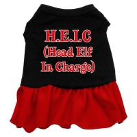 Head Elf in Charge Dog Dress - Black with Red/Extra Small