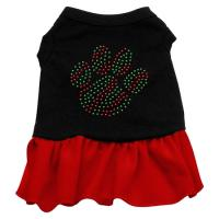 Christmas Paw Rhinestone Dog Dress - Black with Red/Extra Large