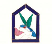 Gift Essentials Large Hummingbird Purple Steeple Window Panel