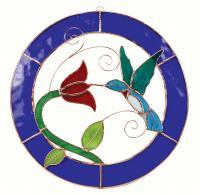 Gift Essentials Large Hummingbird Blue Circle Frame Window Panel