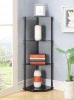 Designs2Go 4 Tier Corner Shelf, Black Glass (Black Glass)