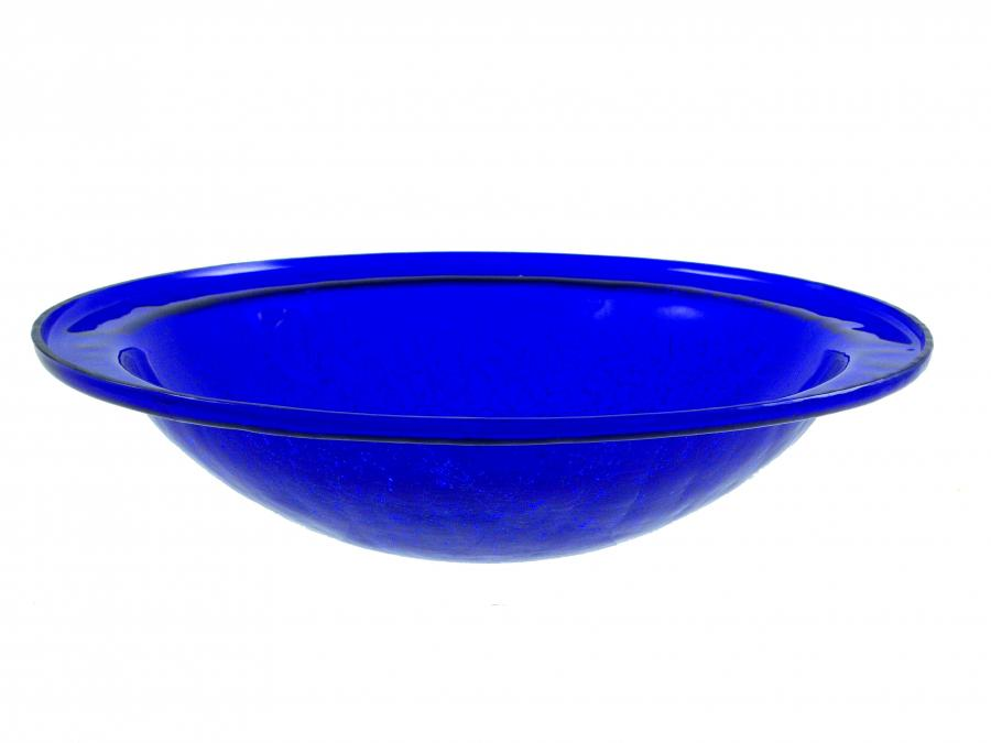 Achla crackle glass bowl cobalt blue no cradle for Blue crackle glass bathroom accessories