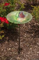Evergreen Enterprises Birdbath Stake Monarch Lilac Glass