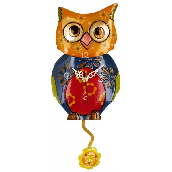 Metal Multicolor Owl Clock with Flower Pendulum