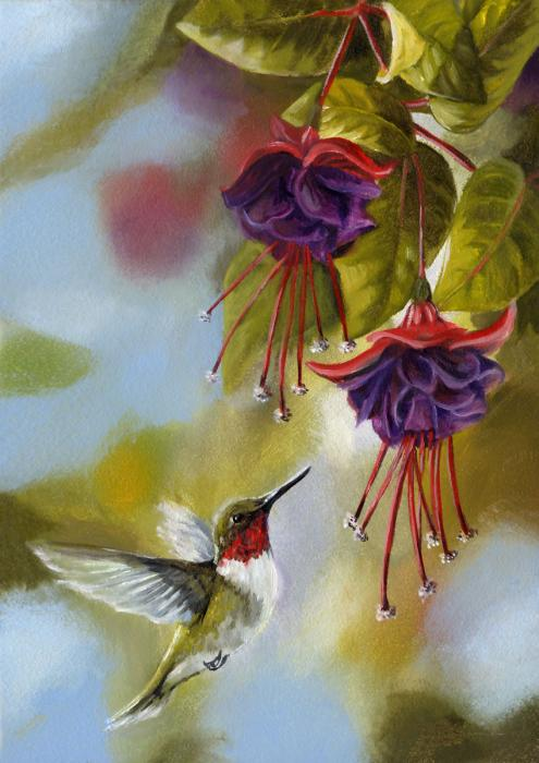 Toland Hummingbirds and Fuschias Garden Flag