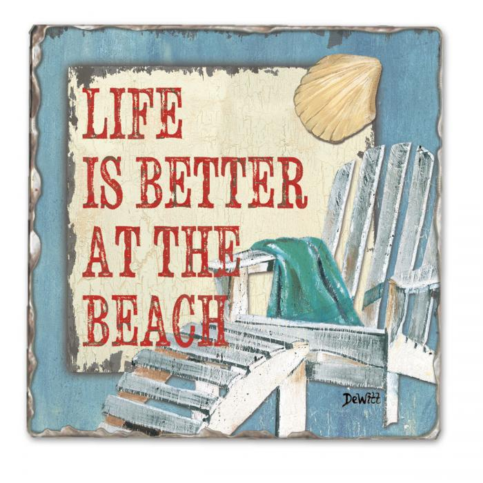Counter Art Beach Time Single Tumbled Tile Coaster