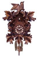 Cuckoo Clock with Seven Hand-carved Maple Leaves and Three Birds - 16 Inches tall