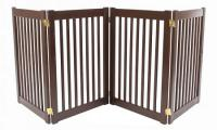 Large 4 Panel Free Standing EZ Pet Gate - Mahogany