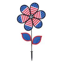 In The Breeze 12 inch Patriotic Flower Spinner with Leaves