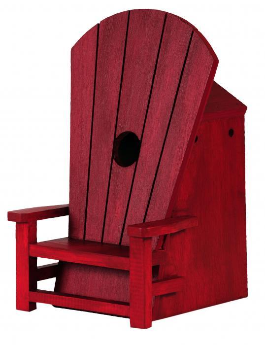 Outside-Inside Adirondak Chair Birdhouse Red