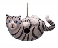 Bobbo Cat on Back Grey Tabby Birdhouse