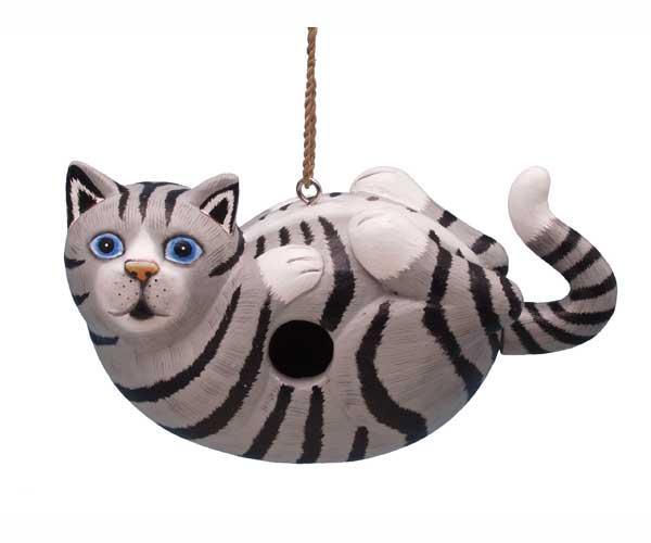 Bobbo Cat on Back Grey Tabby Birdhouse