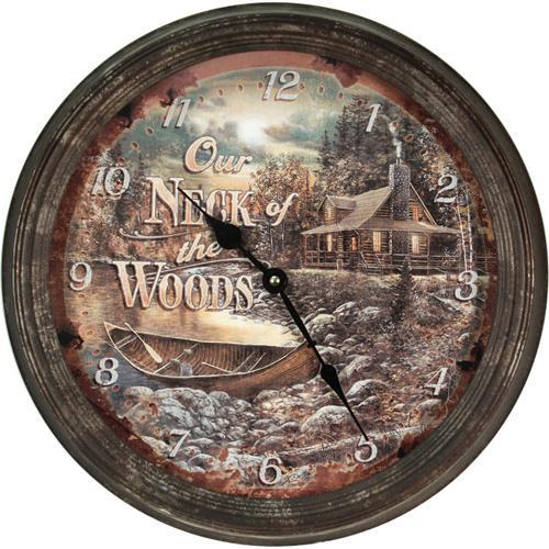 "Cabin Scene Metal Clock 15"""
